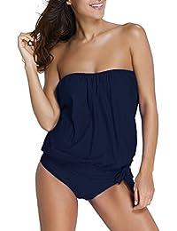 OLIPHEE Femme Tankini Shorty Grande Taille Maillot de Bain 2 Pièces Bikini Bandeau sans Armature