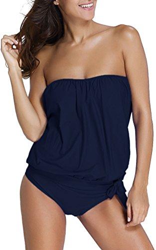 Oliphee mare e piscina sportivo tankini bikini donna moda due pezzi costume costumi blu scuro m