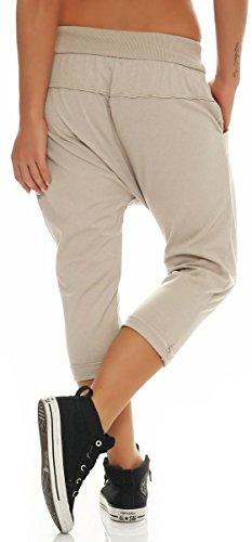 malito Damen kurze Hose mit Knopfleiste | Chino Hose in Unifarben | Baggy zum Tanzen | Sweatpants �?Trainingshose 8015 Beige