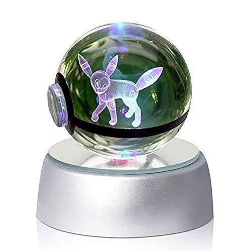 Geschnitzt Ball (HSTV 3D Crystal Ball LED Nachtlichter Mehrere Farben Ändern Automatisch Kinder Geburtstag,(Umbreon))