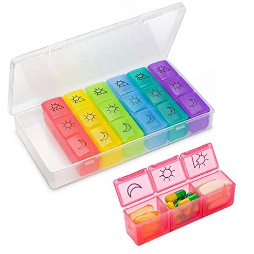 HONZUEN Tablettenbox 7 Tage 3 Fächer Tragbare Reise Medikamentenbox Morgen Mittag Abend, Klein Pillendose mit Feuchtigkeitsbeständigem Design für Medikamenten (21 Fächer)