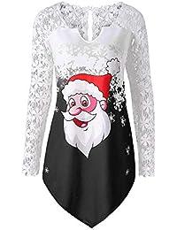 Beikoard Frauen Weihnachten Spitze Santa Print T-Shirt Panel Weihnachtsmann Drucken T-Shirt Bluse