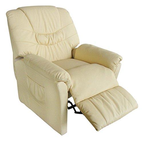 vida XL Massagesessel Fernsehsessel Relaxsessel Massage+Heizung TV Sessel CREME