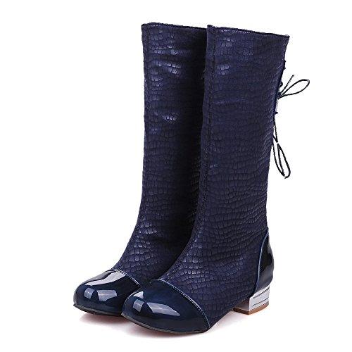 AllhqFashion Damen Niedriger Absatz Schnüren Mitte-Spitze Blend-Materialien Stiefel Blau
