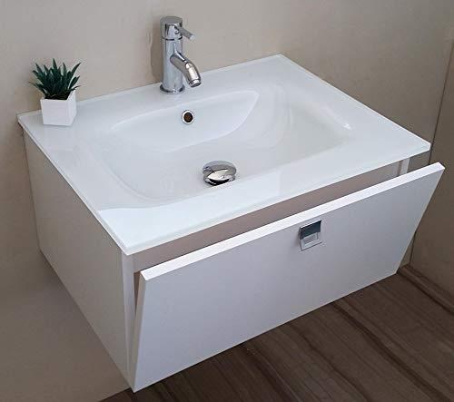 Arredo Bagno Mobile bagno da Cm 60 con lavabo/lavandino in vetro extrachiaro bianco