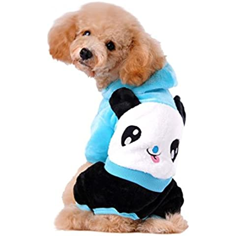 Camicia Piccolo Cane, Dog Shirt, Ouneed® Cane da Compagnia Vestiti del Panda del Fumetto Con Cappuccio Maglione Caldo Puppy Coat Abbigliamento (Blu,