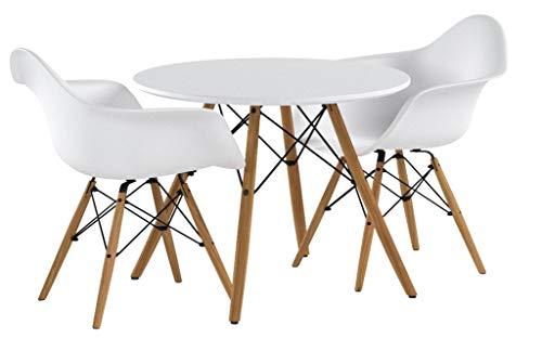 Buschman Kindermöbel | Tisch & Stuhl Set für Kinder | 2 Stühle aus Kunststoff mit Armlehne und 1 runder MDF Tisch | Modernes Design, geschwungene Sitze, Holzbeine, Basis aus Stahl, Farbe Weiß