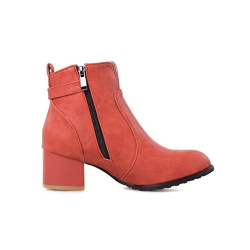 AgooLar Damen Mittler Absatz Reißverschluss Rund Zehe Stiefel mit Schnalle Rot