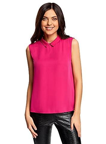 oodji Ultra Damen Ärmellose Bluse Basic mit Kragen, Rosa, DE 42 / EU 44 / XL