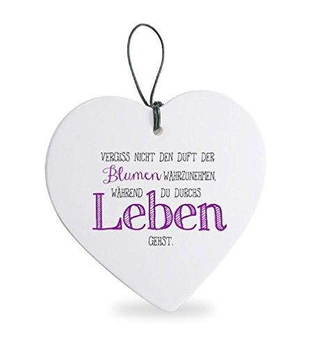 Deko Anhänger Herz Herzchen 15 cm aus Keramik weiß, Kachel Fliese mit Spruch Romantik Weißheit Liebe Glück, Herzanhänger Wandschild Duft der Blumen