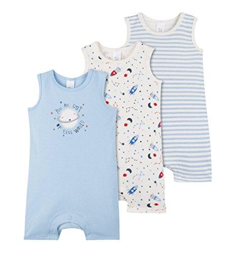 C&A Baby Jungen Schlafanzüge 3-er Pack Weltkugel-Motiv Raketen blau weiß Größe 74