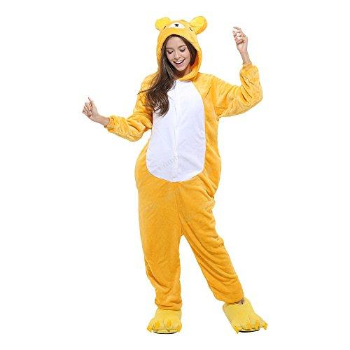 Ganzkörper Tier-Kostüm für Erwachsense - Plüsch Einteiler Overall Jumpsuit Pyjama Schlafanzug - viele Tiere zur Auswahl Bär