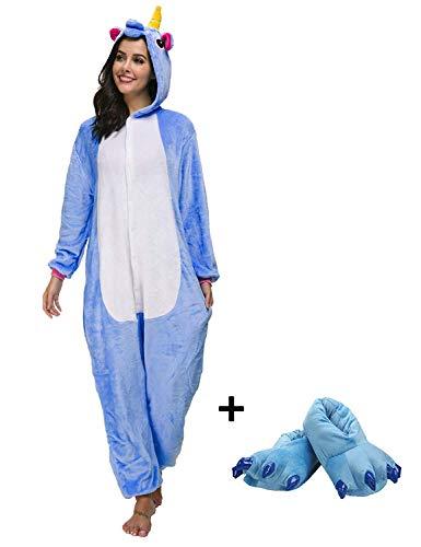 Mescara Einhorn Kostüm Pyjama Jumpsuit Cosplay Schalfanzug Festliche Anzug Flanell Tierkostüm Kartonkostüm Tierschalfanzug (S/EU34, Blau mit Schuhe)