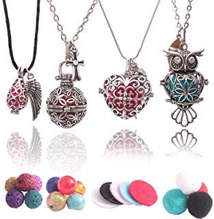 Aromatherapy Essential Oil Diffuser Necklaces: Premium Owl, Heart, Teardrop and Round Designs with Lava Rock, Cotton Beads and Pads. - Lava Rost