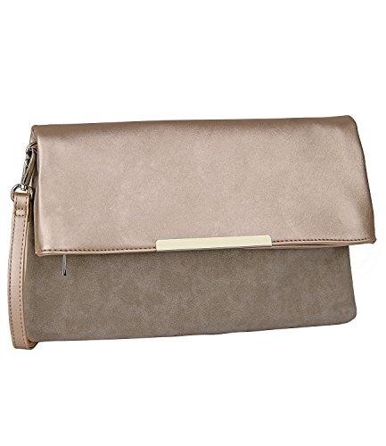 SIX SALE - Damen Abend Handtasche, Flip-Over Clutch, beige metallic, grau (427-633) (Box-clutch-schwarz-abend-taschen)