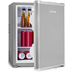 Klarstein Nagano S Mini-réfrigérateur - capacité 38L, réfrigération de 0-8°C, 0dB, silencieux, hauteur 54,5 cm, noFrost, dégivrage automatique, 2 tablettes, 2 compartiments porte, argent