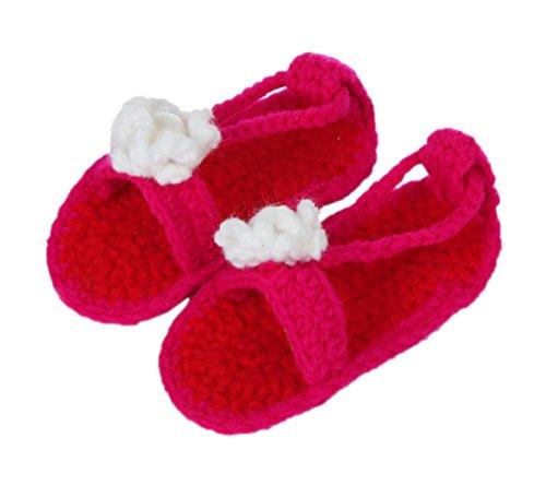 Bigood Sandales Bébé Garçon Fille au Crochet Chausson Décor Fleur