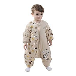 Saco de dormir para bebé con piernas forrado cálido para el invierno, saco de dormir para niños, mangas extraíbles, para niñas, unisex, pijama amarillo (león) Talla:80 (baby height 75-85cm)