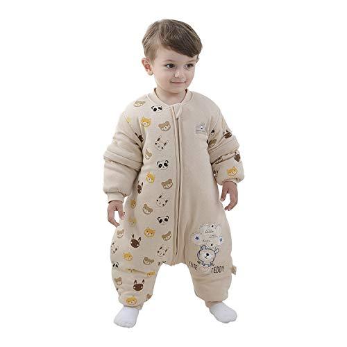 Baby Schlafsack mit Beinen Warm gefüttert winter kinder schlafsack abnehmbaren Ärmeln,Junge Mädchen Unisex Schlafanzug (Bear, 100 (baby height 95-105cm))