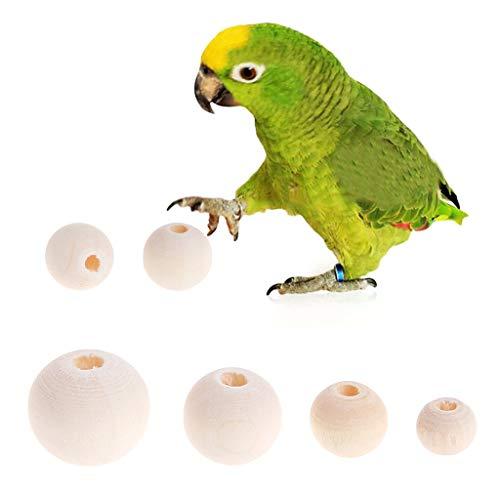 Biniwa - 50 Stück/Set Natürliche Holzperlen, Papageien, Vogel, Hamster, Kleintiere, Kauspielzeug, DIY Schmuckherstellung, Halsketten-Anhänger -