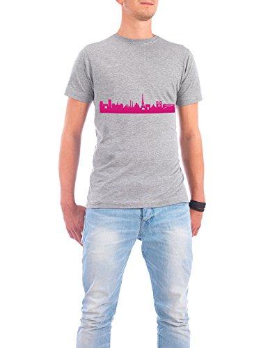 """Design T-Shirt Männer Continental Cotton """"Paris 04 Pink Skyline Print monochrome"""" - stylisches Shirt Abstrakt Städte Städte / Paris Architektur von 44spaces Grau"""