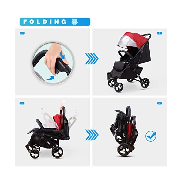LETTAS Compact Fold Stroller Travel Lightweight Pram Buggy Pushchair Easy for Plane with Five-Point Harness Adjustable Backrest Oversize Hood. LETTAS ★ Fit kids 6 months up to 15kgs. Lightweight aluminum alloy frame design (weighs 5.9kg/13 pounds).Can be fold into a very small size. Easy for traveling and car trips. Convenient one-hand and self-standing fold are smooth when use for pack up and go. Passed the strictest EU safety standards: EN1888:2018 ★ Large extended foldable canopy for maximum sun coverage. A week-a-boo window, you can easily keep a watchful eye on your baby. Stay connected with your baby and no more worry while ensuring ventilation. Enlarge and easy to access storage basket holds all baby's necessities. Detachable cloth covers for easy cleaning. ★ Powder coating crafts. High quality material without pollutant. Handle is made of luxurious PU-leather. Small, light and practical. 5-point safety restraint system protects your child as your child grows. Armrest can be opened quickly in the middle. Detachable armrest offers safety guard and also allows baby easily in and out. 3