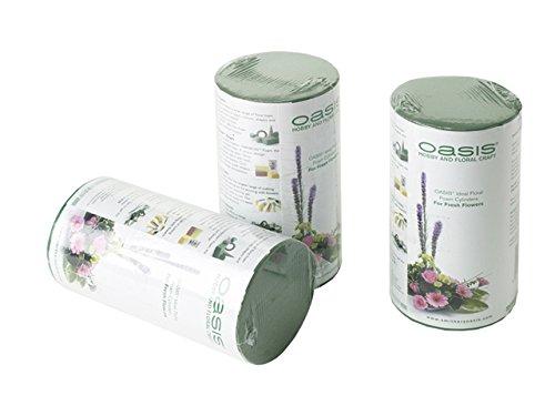 Smithers Oasis - Lote de esponjas para flores (3 unidades, cilíndricas)