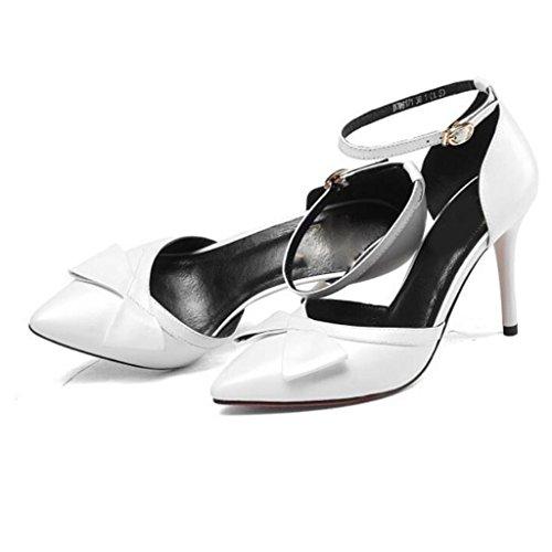 W&LM Pelle di signore scarpa mancia Bocca poco profonda parola fibbia cravatta bene Sandali degli alti talloni White