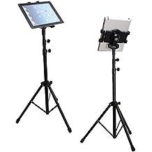 Trípode universal portátil para tableta, se apoya en el suelo, con adaptador para todos los iPad, Samsung Galaxy, Google Nexus y todas las tabletas de 7a 10 pulgadas, giratorio 360°, altura ajustable, para pantallas, fotos, películas, vídeos con funda de transporte (trípode de 4 secciones)