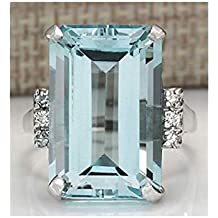 55ff18656dd3 Zeagro - Anillo de Plata de con Piedra de Aguamarina para Mujer 17MM