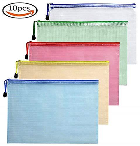 A5 Bolsas con cremallera Carpeta Ziplock Carpeta Archivo 10PCS Impermeable Ultra Durable Surtido de colores por IVALLEY (Tamaño A5 Zip Bag)