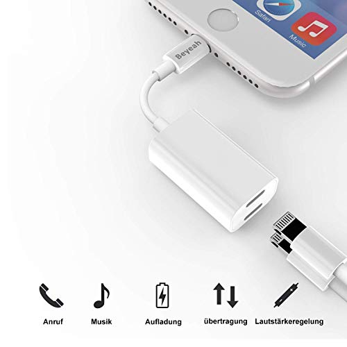 2 in 1 Lightning AUX Adapter iphone Adapter Splitte Kopfhörer Jack Adapter für iPhone Xs /Xs Max / iPhone XR /iPhone X / iPhone 8/8 Plus / iPhone 7/7 Plus. Kompatibel mit iOS 11/12 Oberhalb - 2