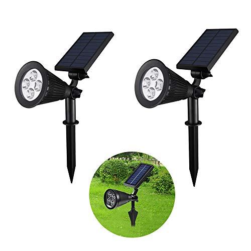 JY Solarbetriebener Gartenscheinwerfer im Freien, verstellbare Polysilizium-Wandleuchten, wasserdichte Bunte Rasenleuchten, geeignet für Bürgersteig, Garten, 2 Packungen -