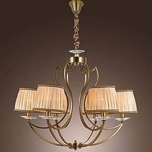 vintage kronleuchter 6 licht klassische stoffmetall. Black Bedroom Furniture Sets. Home Design Ideas