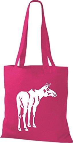 Shirtstown Pochette en tissu Animaux élan Elk rose bonbon