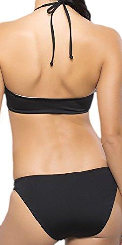 erdbeerloft - Damen stylisches Bikini Set mit Cut Outs, neckholder, XS-L, Viele Farben Schwarz