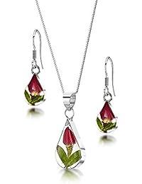 Silberschmuck mit echten Blumen  Kette, Anhänger - mini Rosenblüte -  Tropfen - mit… 967d13fd2e