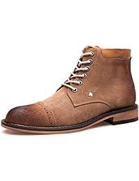 Youlee Hombres Ata para arriba Zapatos Cuero Negocio Zapatos Marrón EU 42