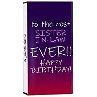 Chocholik Birthday Day Gift – Birthday Wishes to My Best Sister-in-Law 70% Dark Belgium Chocolate Bar - 100gm (3.5Oz)