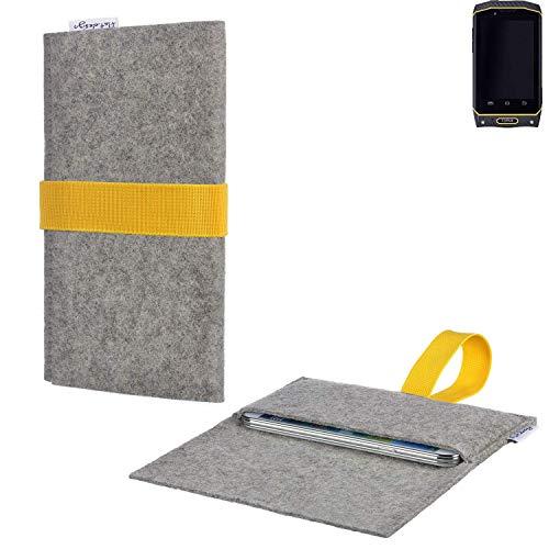 flat.design Handytasche Aveiro mit Filz-Deckel und Gummiband-Verschluss für Cyrus CS 19 - Sleeve Case Etui Filz Made in Germany hellgrau gelb - passgenaue Handy Hülle für Cyrus CS 19