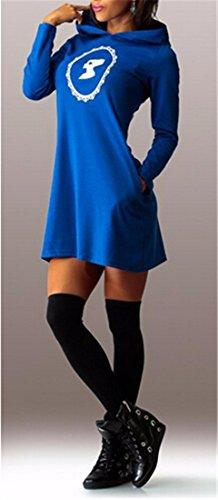 QIYUN.Z Frauen Beiläufige Hoodies, Kurzes Kleid Fester Langarmshirt Basic Mode Gedruckt Kleider Blau