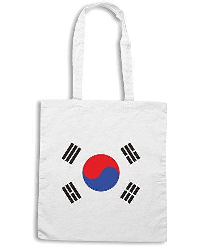 T-Shirtshock - Borsa Shopping TM0205 Korea Flag flag Bianco