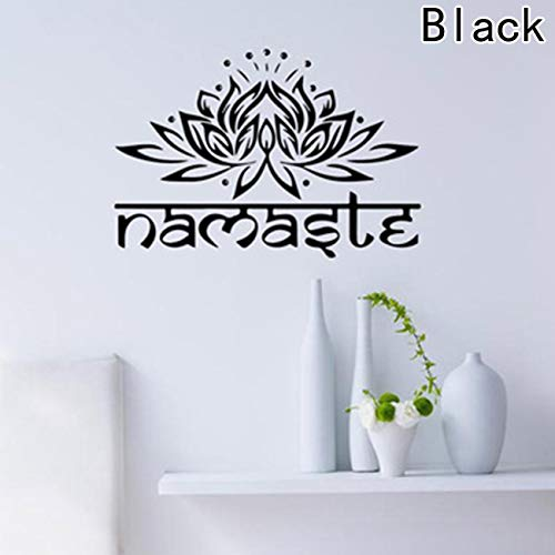 he Wandbild, Lotus Namaste-Aufkleber, Chic Ganesha Word Home Living & Dekorative India Wall Supplies Blume Religion Aufkleber für Zuhause Dekoration - 42 * 28cm Black ()
