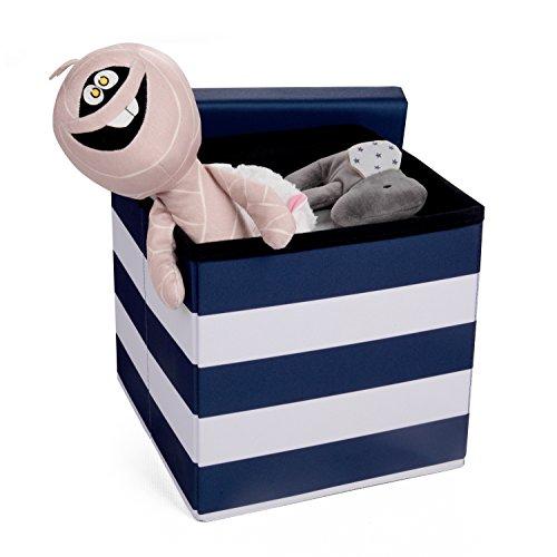 HOMIE Sitzbox, Aufbewahrungskiste, Sitztruhe, Spielzeugkiste, Hocker für Kinder, faltbar (30 x 30 x 30 cm) Maritim