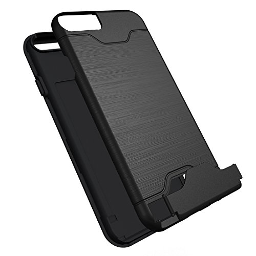 iPhone Case Cover Pour iPhone 6 & 6s texture brossée TPU séparable + affaire PC Combinaison arrière avec slot pour carte et support ( Color : Green ) Black