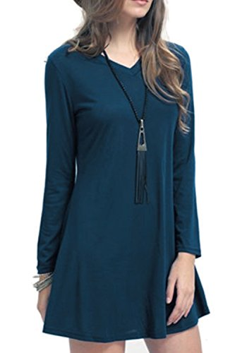 Damen Elegant Fashion Casual T-Shirt Kleid Langarm Bluse Kleider Shirtkleid Herbst 2017 (Kleid Seide Shirt)