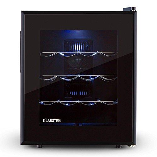Klarstein Barolo • frigorifero per vini e bevande • 48 L • 16 bottiglie • doppiamente isolato • 3 ripiani in metallo • illuminazione interna a LED • autonomo • funzionamento silenzioso • nero