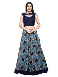 Inddus Blue Banarasi Cotton Woven Lehenga Set