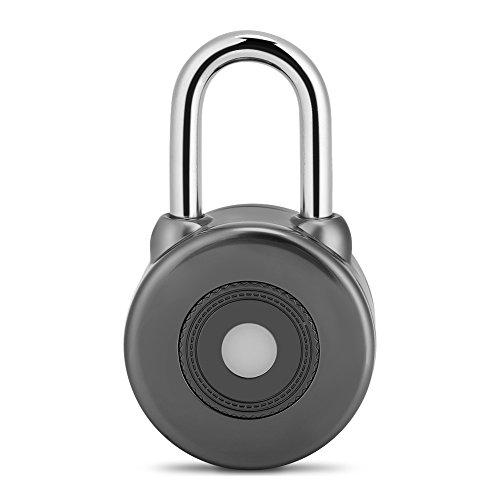 Klein Bluetooth Smart Vorhängeschloss Kein Schlüssel zu verlieren Bluetooth Lock Outdoor Kompatibel Schlüssellosmit Bluetooth 4,0 oder Höher IOS Android System für Tür Fahrrad Motorrad Außen und Inne(Grau) Entsperren Bei&t-handys
