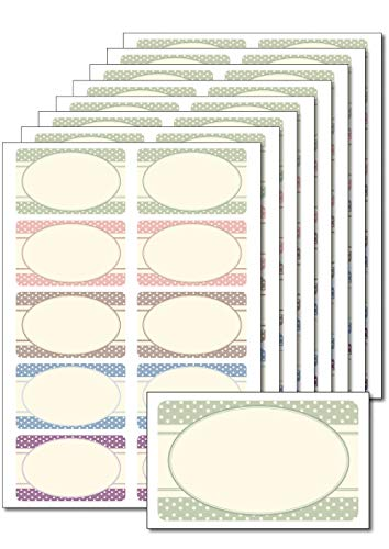 80 Etiketten 'Vintage Punkte' zum Bedrucken, Beschriften, DIN A5, selbstklebend, leicht ablösbar, für Einmachgläser, Gebäcktüten, Give-Aways